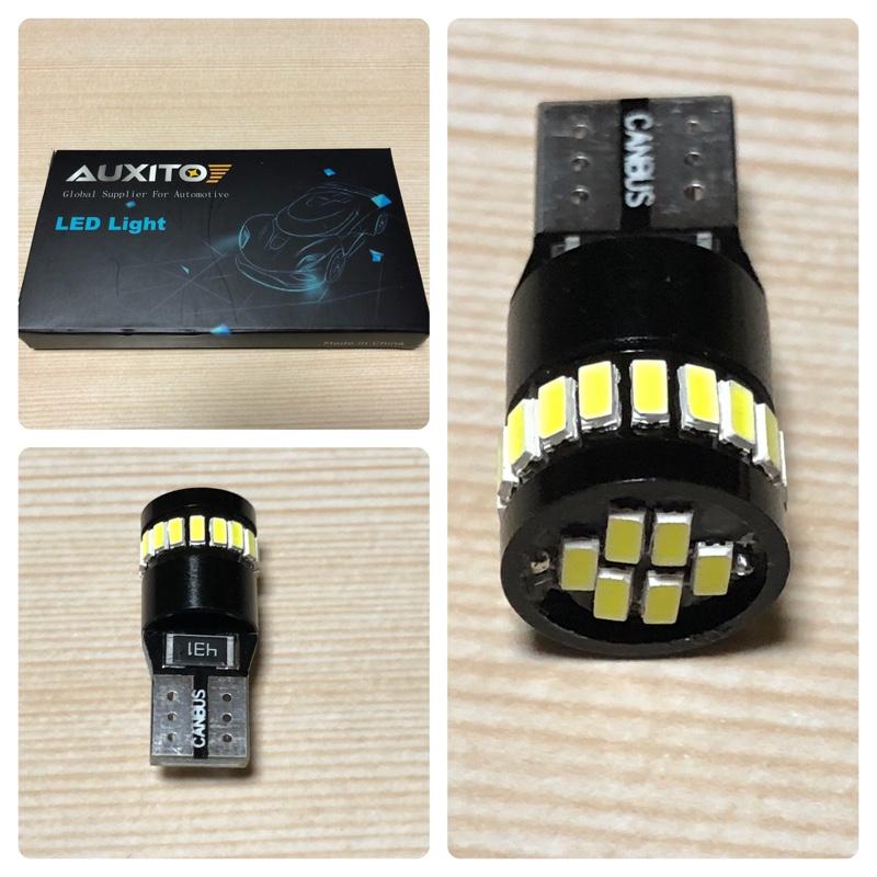 AUXITO T10 LED ホワイト 爆光 10個 ポジションランプ led キャンセラー内蔵 2W 24個3014LED素子 30000時間寿命 12V LED 白 ルームランプ / ナンバー灯 1年保証