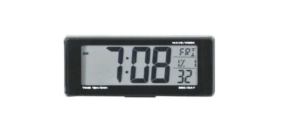 SEIWA 車用 時計 ライト電波クロック 電池タイプ ブルーLED