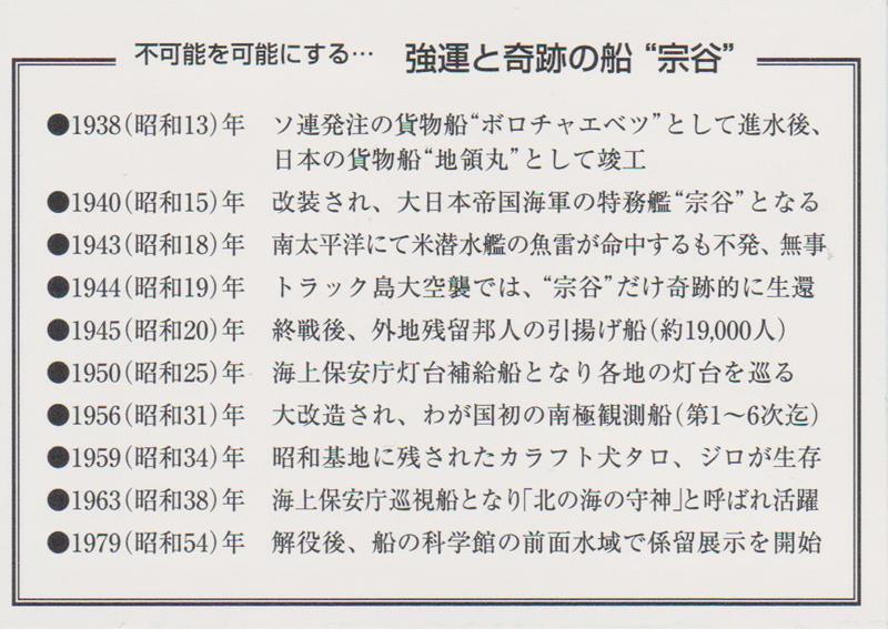 """船の科学館 「初代南極観測船""""宗谷""""見学記念」カード (裏)"""
