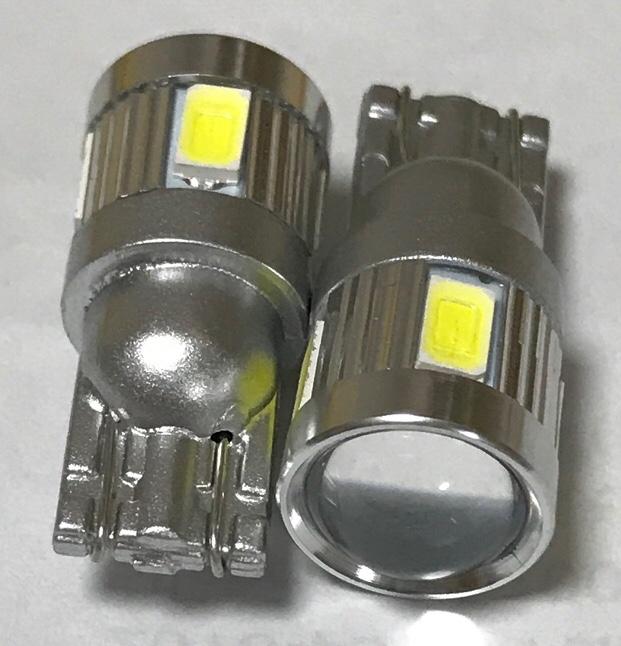Yahoo!ショッピング 12V T10 T16 LEDバックランプ 2個セット CREE XB-D + 5630 ホワイト6000K ルームランプ 白 先端プロジェクター