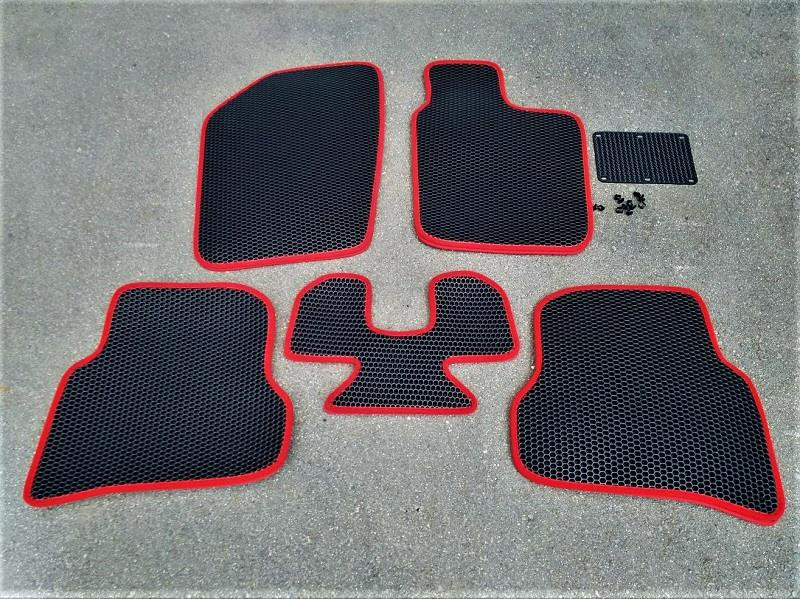 RUZEN  6HOLEハニカム構造二重フロアマット BLACK/RED