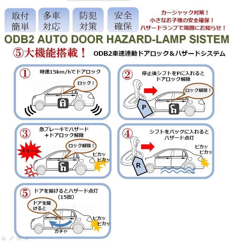 不明 OBD2 AUTO DOOR HAZARD-LAMP SISTEM トヨタタイプB