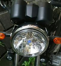 YBR125maxima★select マルチリフレクター ヘッドライト 180mm H4 バルブ付きの全体画像