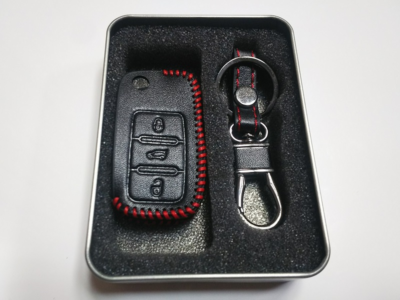 hanano Volkswagen車専用 レザースマートキーケース ブラックA