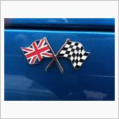 イギリス製 イギリス本国ユニオンジャック&チェッカーフラグ国旗バッジ