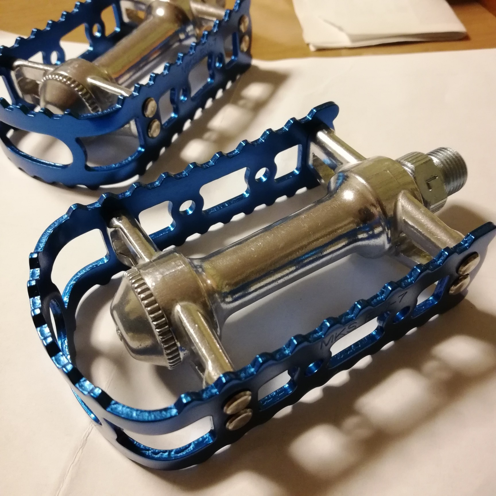 "BLUE New MKS BM-7 NEXT 70TH Anniversary BMX Platform Bicycle Pedals 9//16/"""