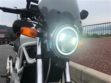 VTR250不明 ボルトオンリム組込み済エンジェルリング付新型LEDヘッドライトの全体画像