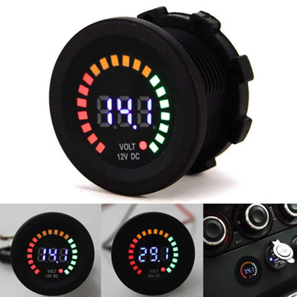 不明 LEDデジタル電圧計 LED電圧メーター 防水設計