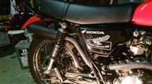 XL230greed motorcycle リバースコーンサイレンサーの全体画像