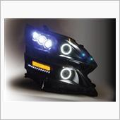 オールカープロダクツ 20系ヴェルファイア 流れるウィンカー&LEDDOTS ブラックアウトで引き締まる オリジナルイカリングカスタムヘッドライト