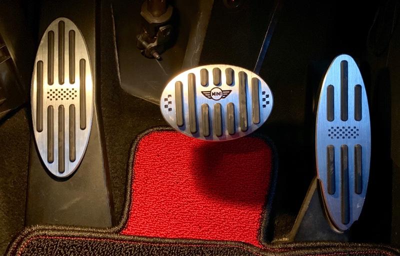 不明 MINI BMW アルミペダル チェック柄 AT用 3ピース