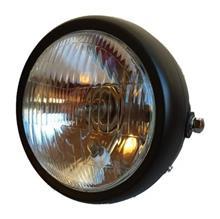 CG125J-base 汎用 12V ヘッドライト ビンテージ バイク ブラック (クリアーレンズ)の単体画像