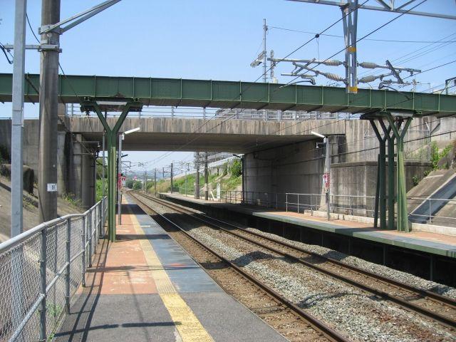 教育大前駅の構内にたつ跨線水路橋<br />