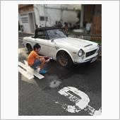 息子と洗車