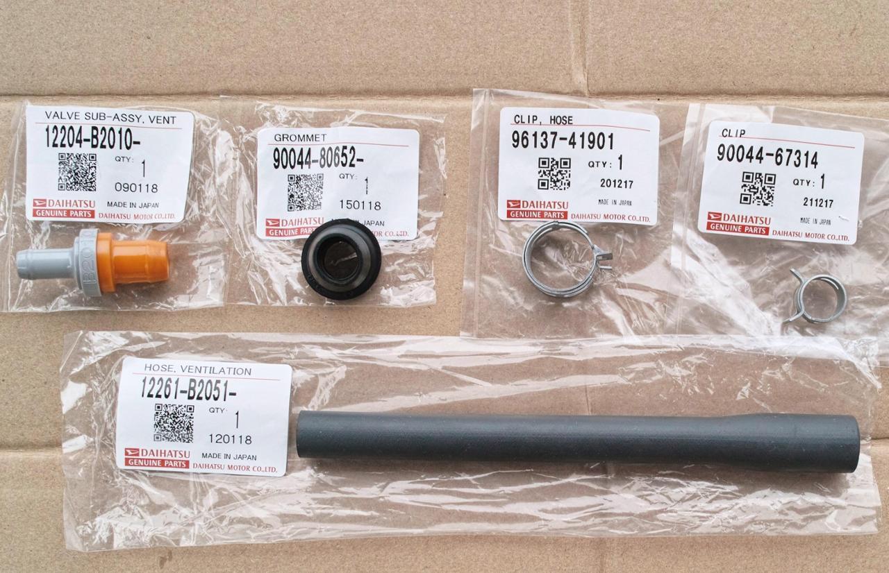 ダイハツ(純正) ベンチレーションバルブ(PCVバルブ)・同ホースほか  12204-B2010