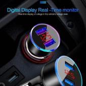 不明 【ブルー】 USB車載充電器 デジタル電圧計 USB 2ポート シガーソケット