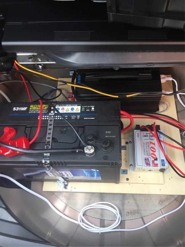 自作 サブバッテリーシステム EDECOA 12V 正弦波 1500W インバータ他