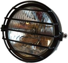 CG125Karun 汎用 12V ヘッドライト ガード付 ビンテージ バイク ブラック (タイプ2 クリアーレンズ)の単体画像
