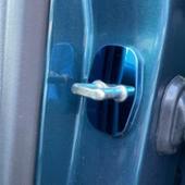 謎 プジョー  シトロエン 鏡面ステンレス ストライカーカバー ブルー 4個セット
