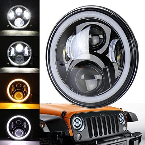 OVOTOR LEDヘッドランプ ホワイト/イエローイカリング付き ブラック