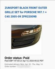 911 (クーペ)ZUNSPORT BLACK FRONT OUTER GRILLE SETの全体画像