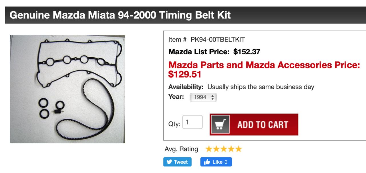 マツダ(純正) PK94-00TBELTKIT 94-2000 Timing Belt Kit