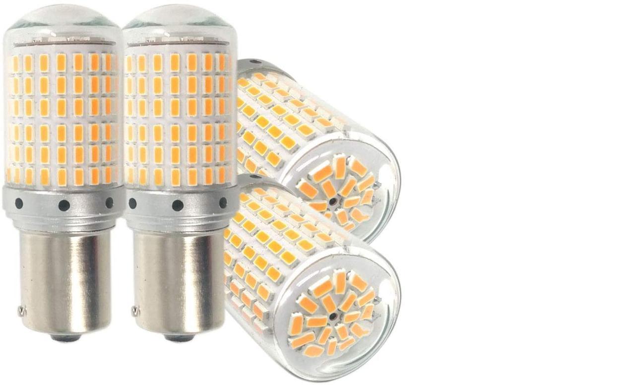 Autart S25 LED ウインカー アンバー オレンジ イェロー ハイフラ防止 キャンセラー内蔵 美光3014SMD 144連 ピン角違い 150度 1156 BAU15S PY21W