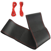 ZATOOTO ハンドルカバー 編み込み式 本革 Sサイズ 赤ステッチ