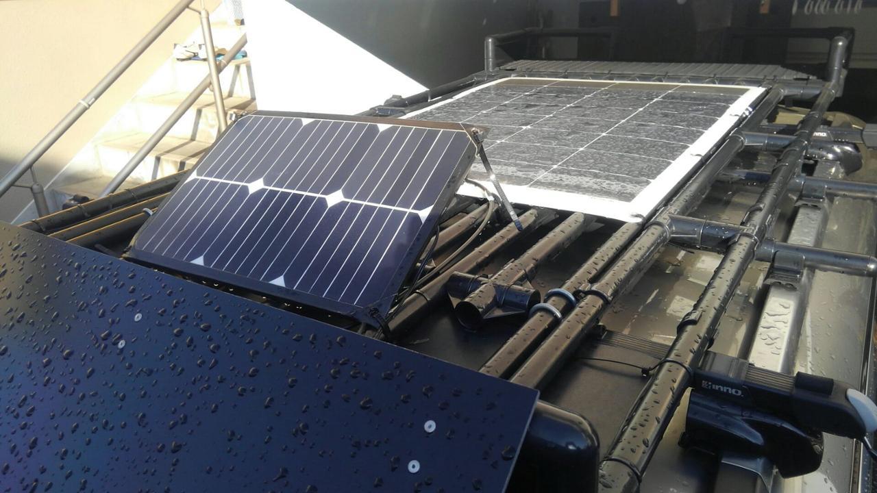 自作 メインバッテリー補助充電用SUAOKI18wソーラーパネル