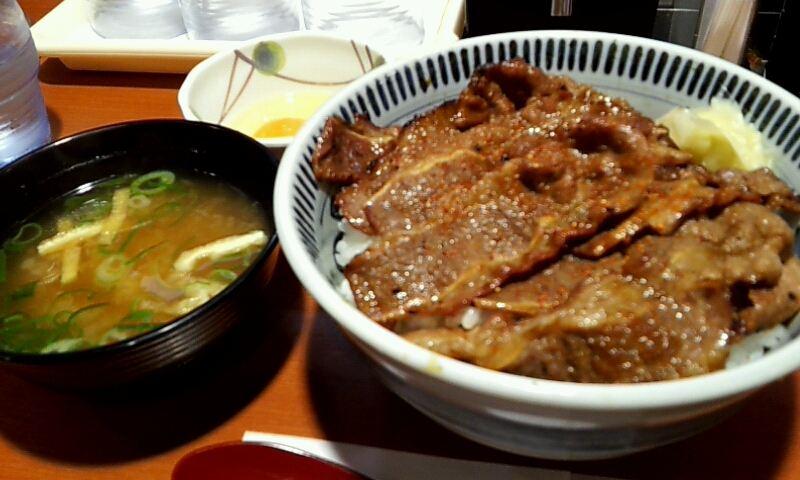 焼き牛丼大盛り&玉子