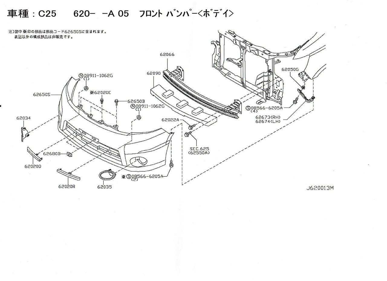 セレナC25フロントバンパー部品コード