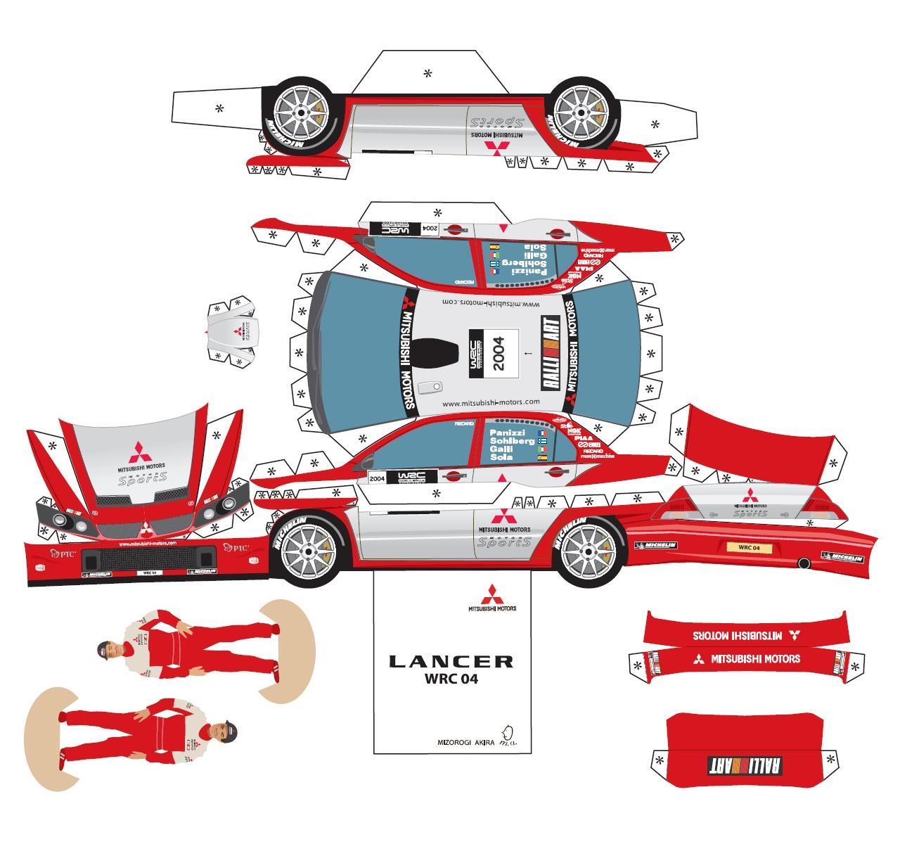 Delica D5 Four Wheel: 「三菱車 の ペーパークラフト を 作ってみよう ・・・・」アクア ASX Ralliartのブログ