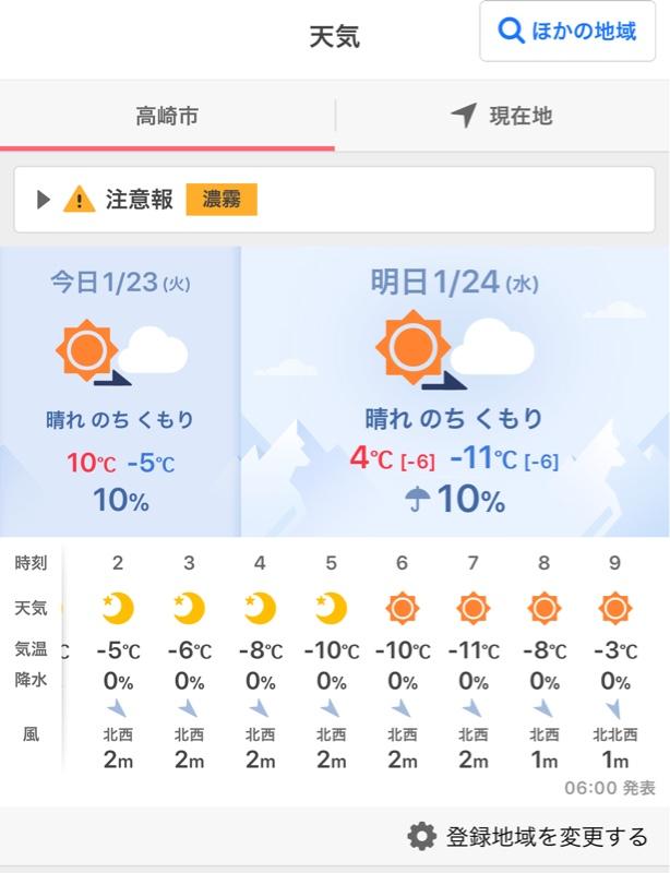 明日 の 最低 気温