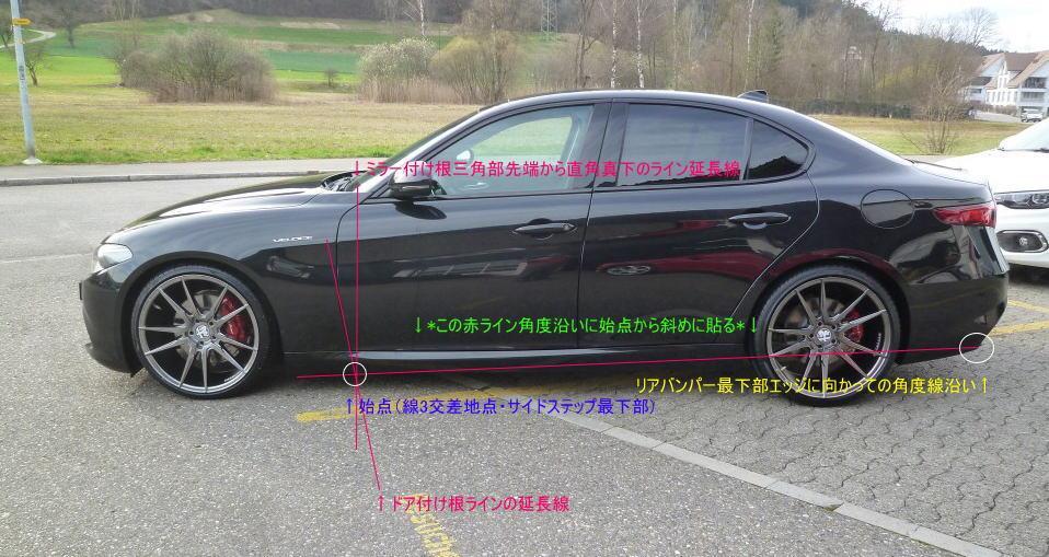 新型ジュリア クアドリ タイプ カーボン サイド スカート 取付け位置参考図