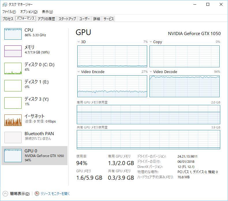 NVIDIA GeForce GTX 1050のNVENCで動画を高速エンコード